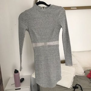 Lf rumor grey long sleeve tight dress